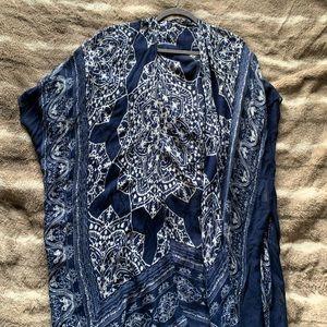 Blue Patterned Tassel Kimono by VICI